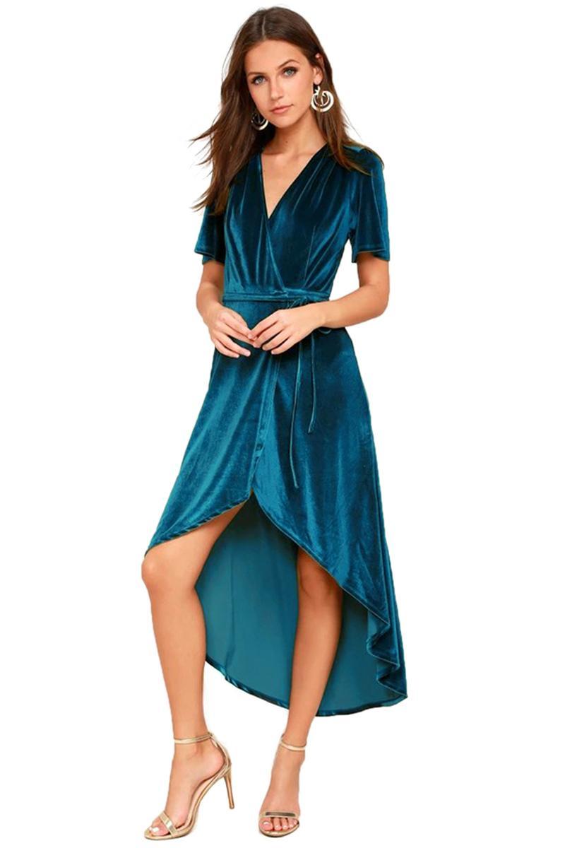 Sommer-Damen Velvet Feste Kleider Gürtel mit V-Ausschnitt Split Frauen Asymmetrische Kleider Sexy Fashion Female Vintage-Kleider
