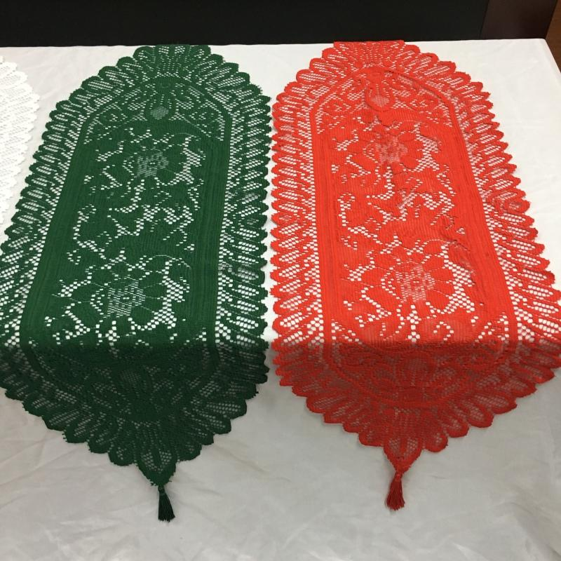 Christmas St. Patrick's Day Shamrock Lace Table Runner Flag Clover Green Square Mesh Party Banquet Decoration Tablecloth