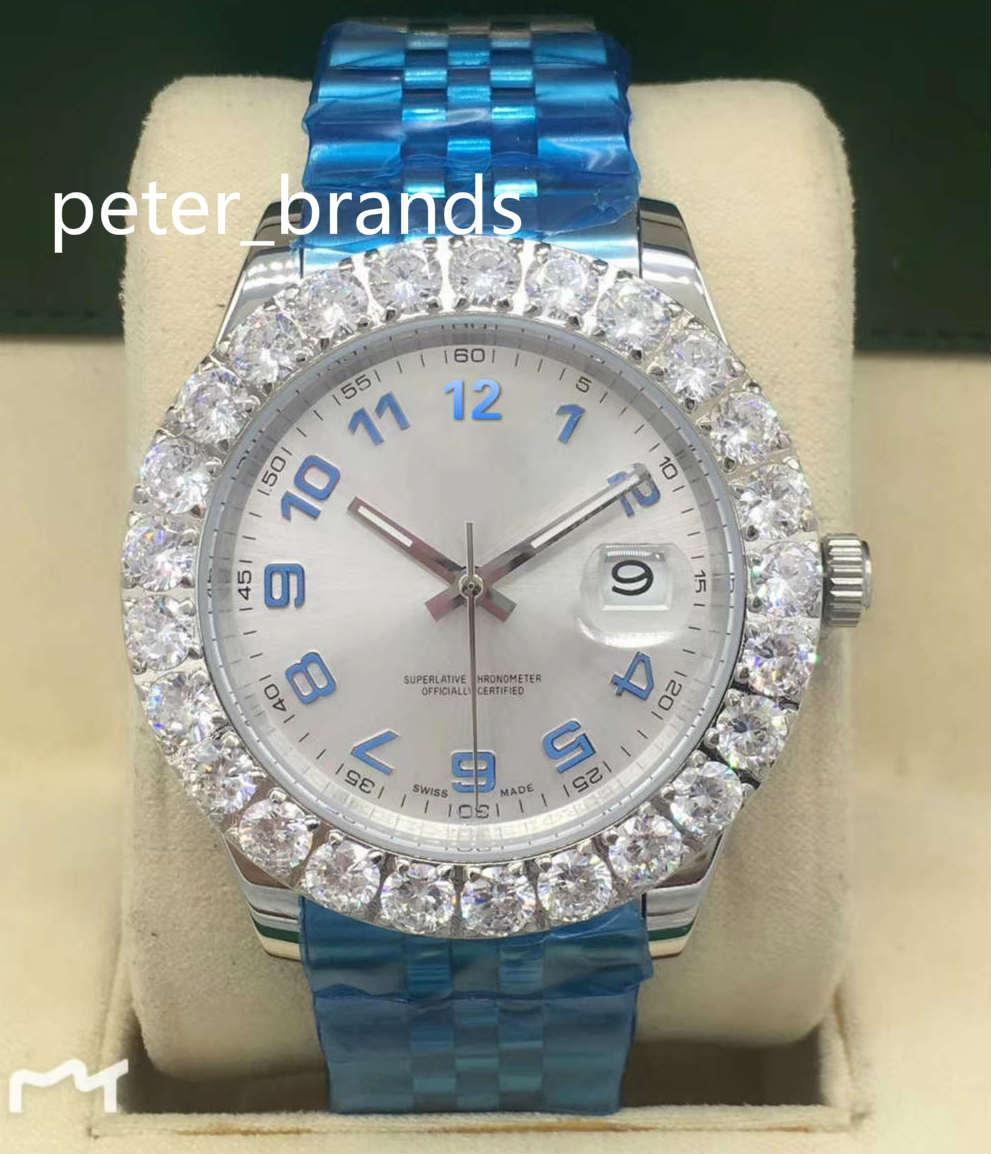 43MM Prong mis montres cadran argenté numéro acier inoxydable montre-bracelet des hommes de diamants de la mode des hommes de diamant automatique de haute qualité grosse montre