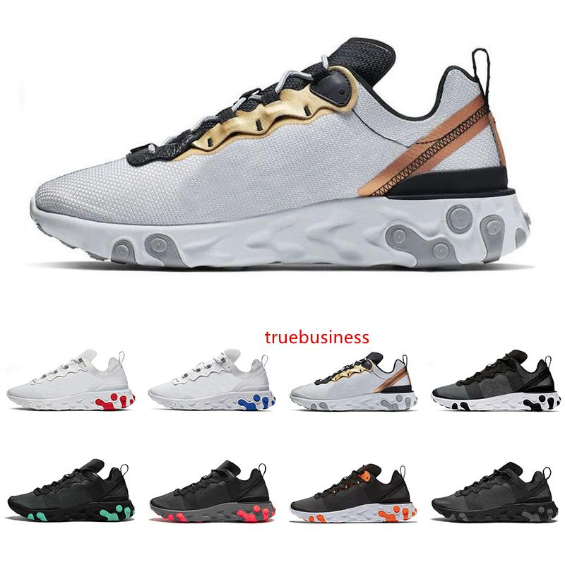 2019 React Element 55 chaussures de course pour hommes, femmes triple noir blanc rouge métallique UNIVERSITY or formateurs hommes de mode baskets de sport