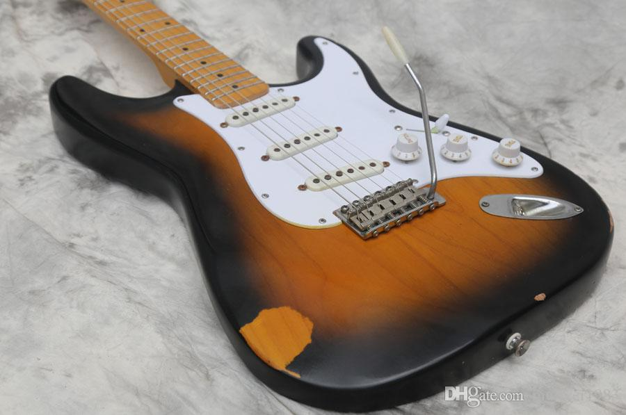 Guitare électrique de haute qualité, guitares de meilleure qualité, relique âgée, matériels de qualité supérieure, corps en aulne massif, expédiées rapidement