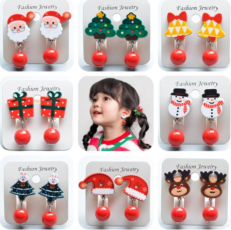 Karikatür Küpe İçin Güzel Kızlar Takı Noel hediyesi olarak çocuklar Moda Noel Baba Noel Sahte Küpe No Piercing Klip
