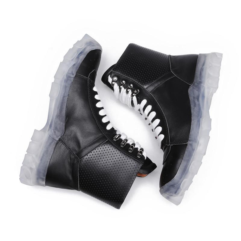 Vera Pelle Spessa Pattini Della Piattaforma Degli Uomini Di Inverno Lace Up High Top Casual Sneakers High Street Ankle Army Boot Uomo Nero Plus Size