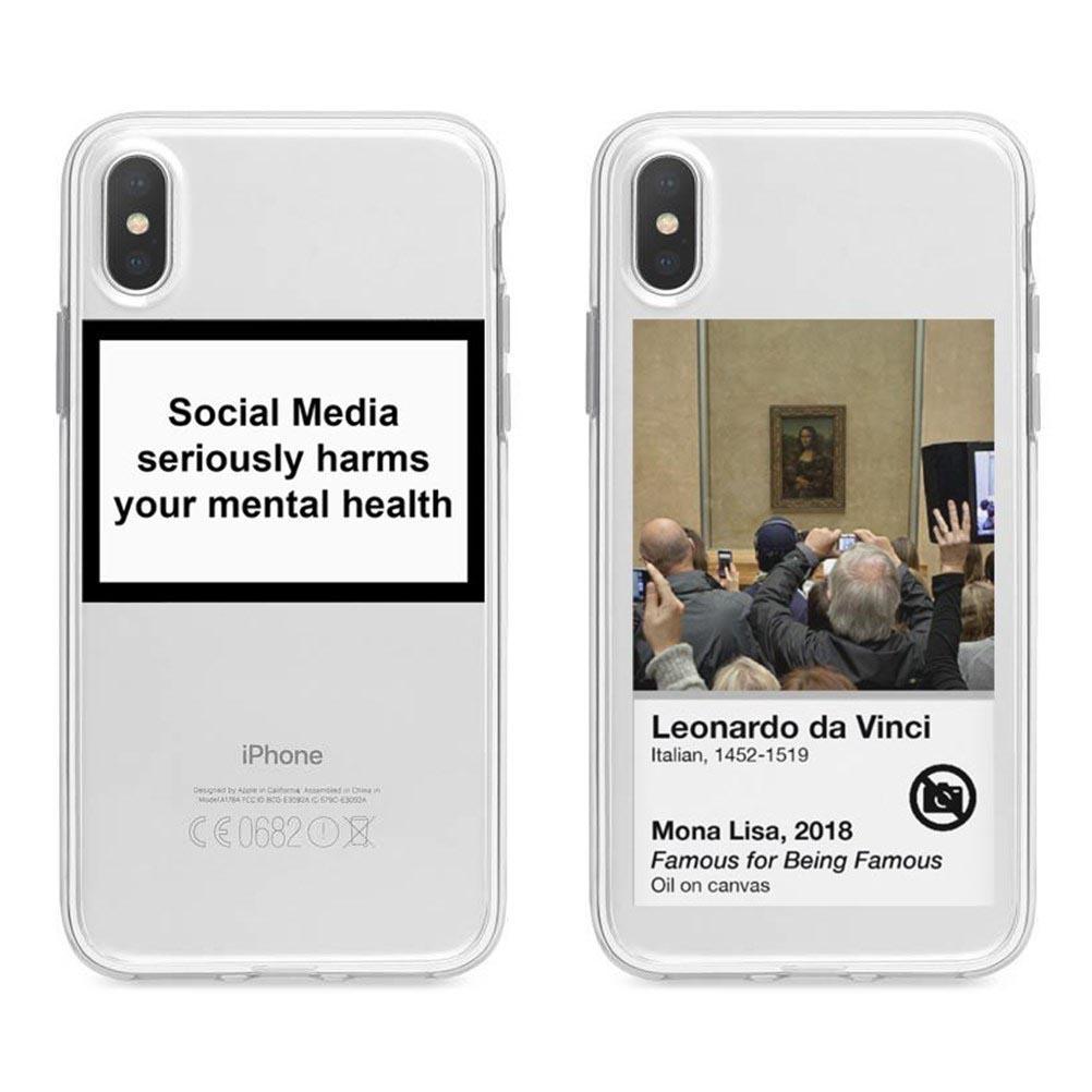 medios de comunicación social perjudica gravemente su caja del teléfono cubierta de silicona de salud mental para el iphone 11 Pro MAX 5 5S 6S Plus 7 8Plus X XR XS MAX