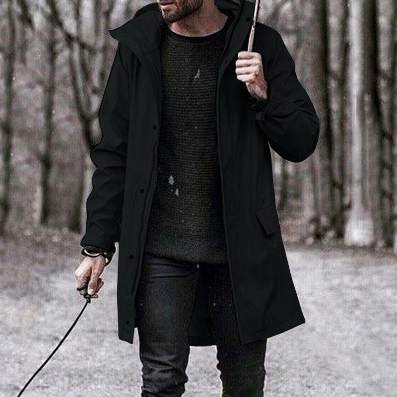Capa de la manera larga otoño capa de la chaqueta informal de vestir exteriores del sobretodo sólido Fosa de los hombres de CLuxury Ropa de hombres rompevientos
