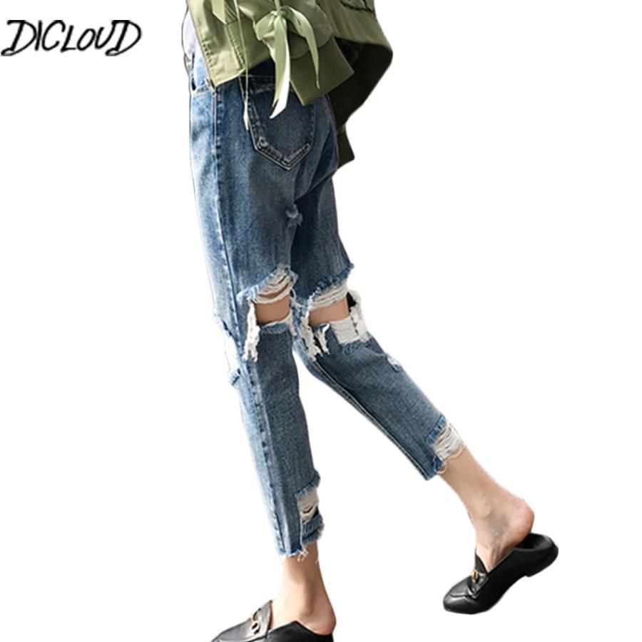 Dicloud 2018 Autumn Hole Jeans Mujer Moda Streetwear Harem Pantalones Mujer Loose Casual Novio Cintura alta Borla Blue Jeans Y19072501