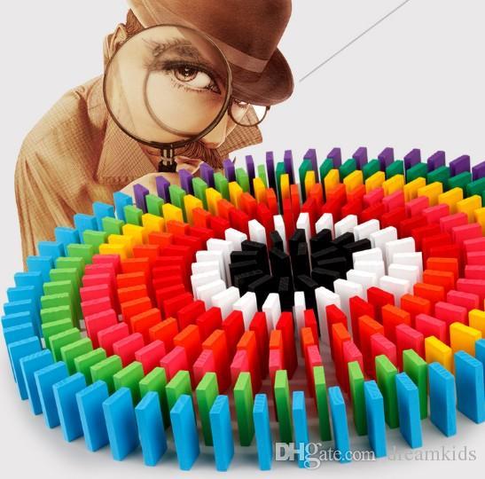 120pcs colorido arco-íris dominó pedaços de blocos de construção à base de madeira de educação precoce das crianças brinquedos do jogo brinquedos de presente de aniversário