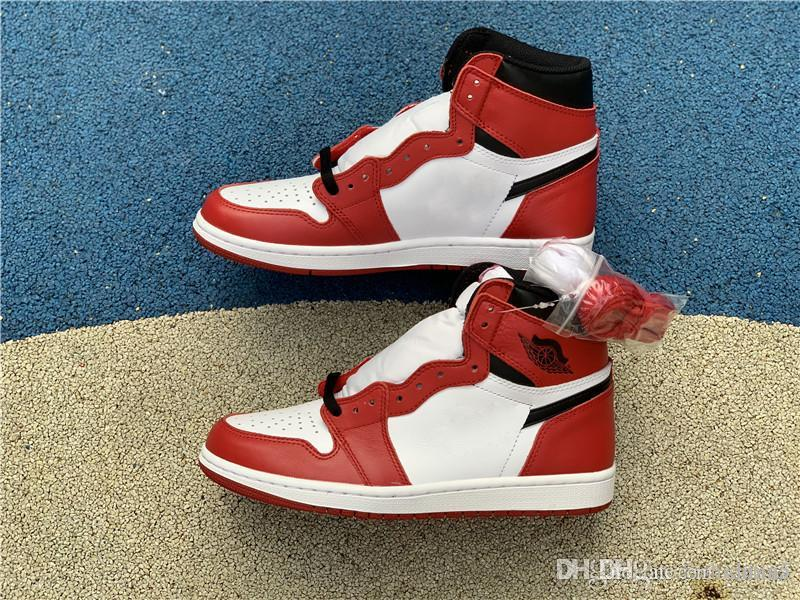 Аутентичные 1 Высокая OG Чикаго 1S красный черный белый мужчины баскетбол обувь спортивные кроссовки с коробкой 555088-101