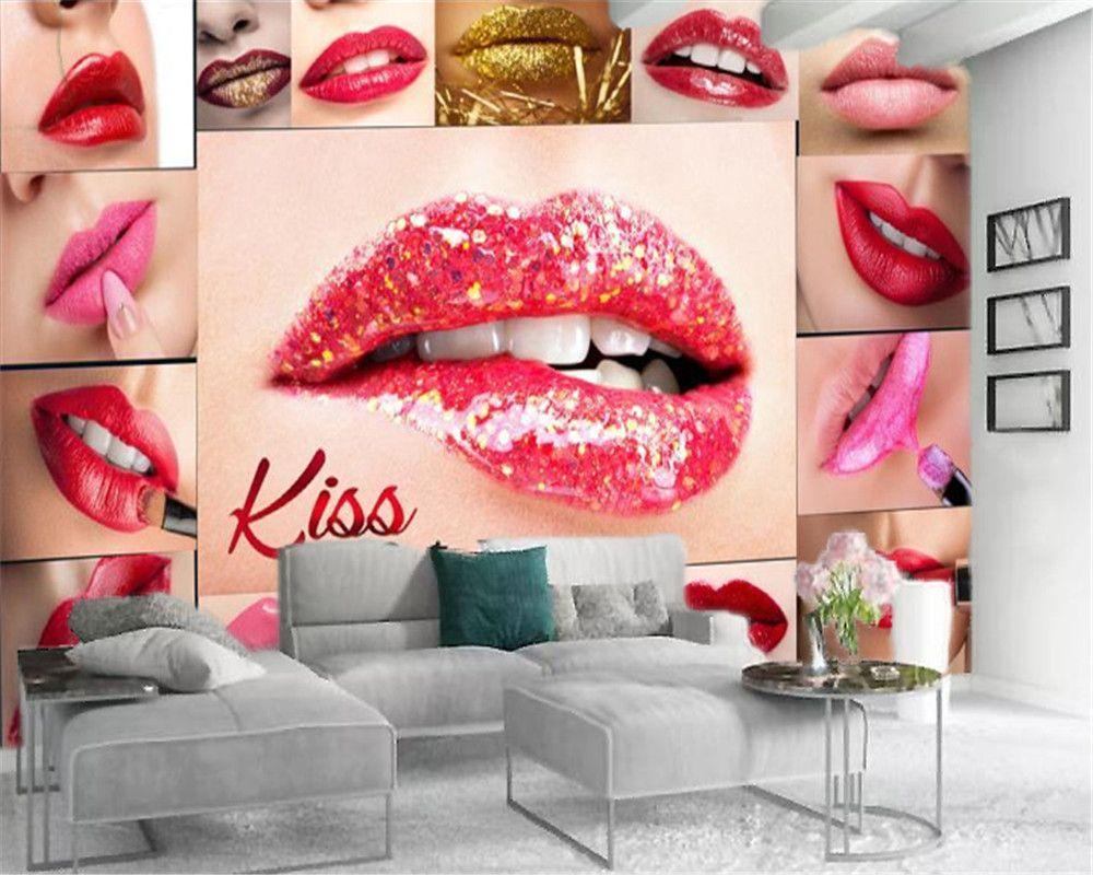 3D Wallpaper Wohnzimmer Alle Arten von Sexy Lippenstifte schmücken die Wände von Kosmetik Shops HD Dekorative Schöne Tapete