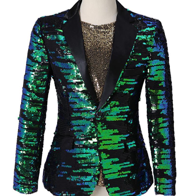 S-3XL Hommes Shawl Lapel Brillant vert Paillettes Costume Vestes Soirée hôte Slim Sequin Blazers Vêtements Performance hommes Chanteur Costume gros