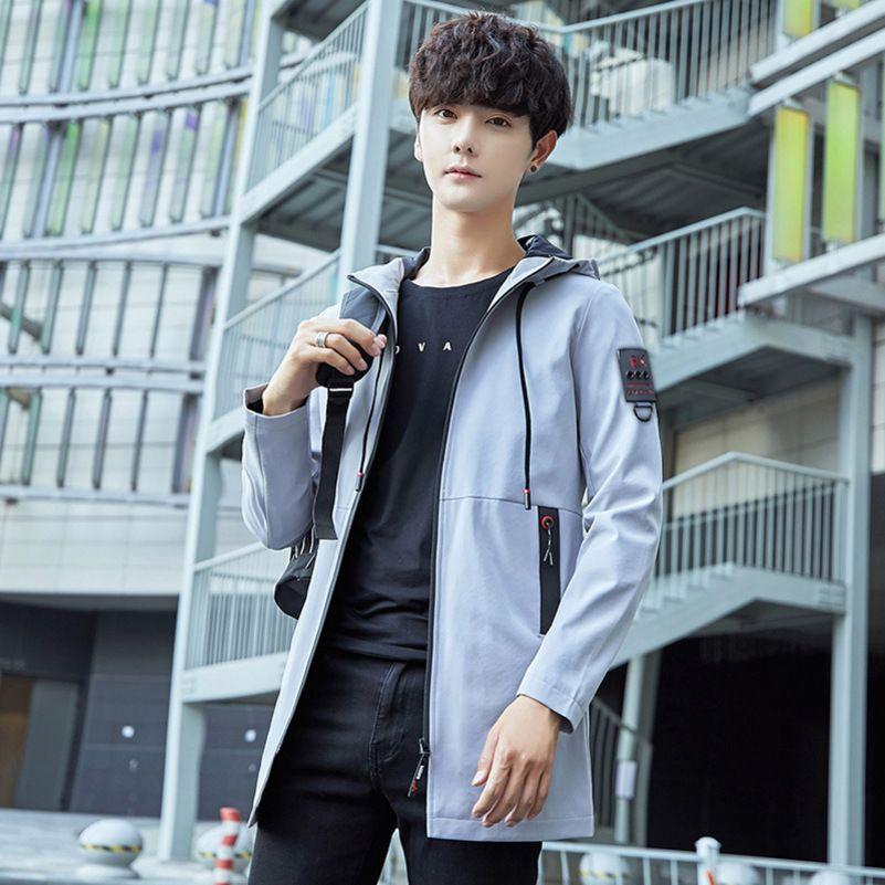 mens tasarımcı her maç jacketQMFP düz renk orta ve uzun rüzgarlık ceket gençlik moda kapüşonlu