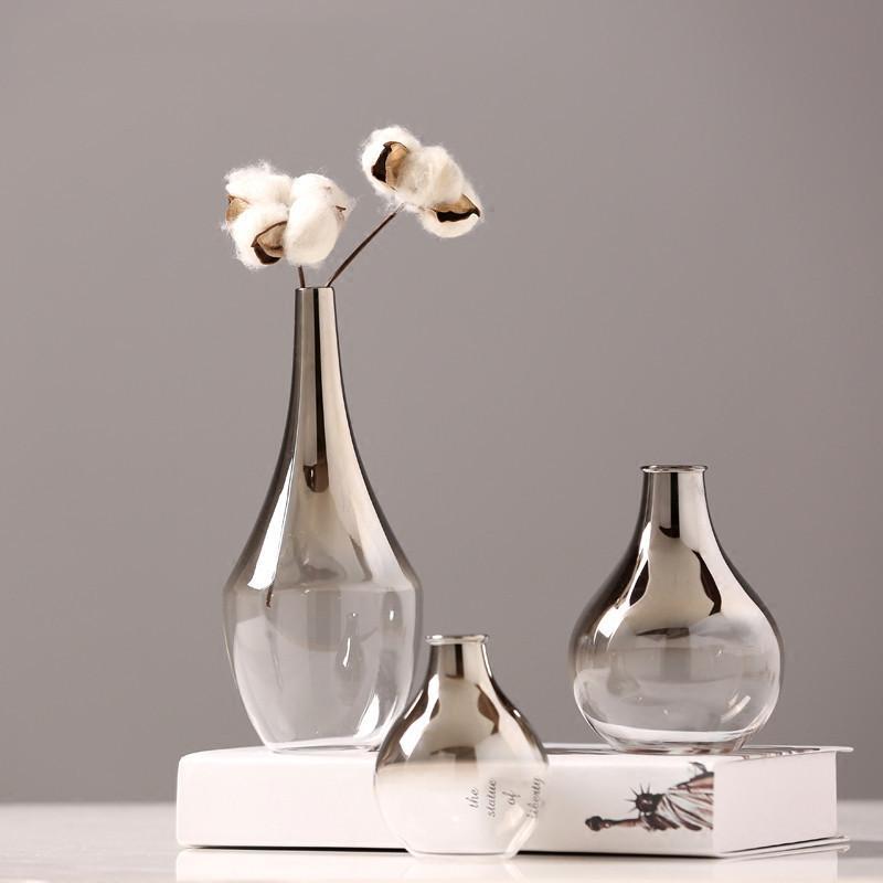 북유럽 유리 꽃병 크리 에이 티브 실버 그라데이션 말린 꽃병 데스크탑 장식품 홈 장식 재미 선물 식물 냄비 T200617