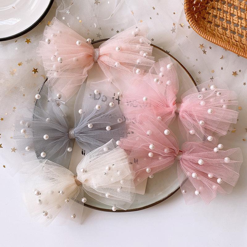 2020 New coreano menina doce colorido bonito imitação de Pearl Yarn Bow Duckbill Clipe Crianças Moda Acessórios Grampos de cabelo