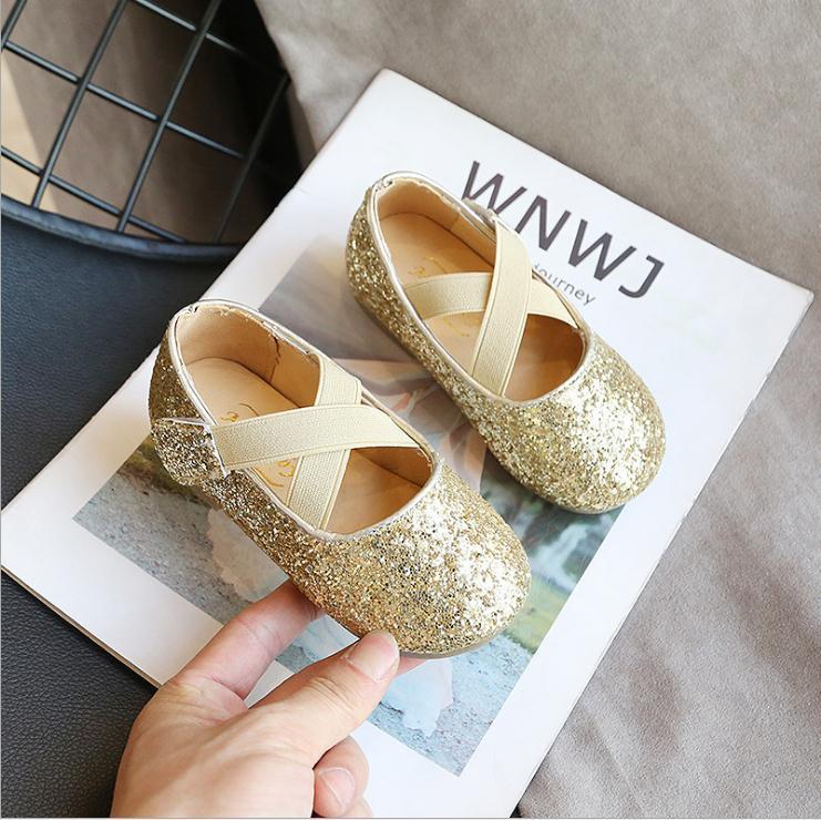 أحذية الكعوب الأطفال فتاة صغيرة العليا الذهب الأسود الترتر فستان الأميرة للأحذية الزفاف أطفال بنات مدرسة الحزب
