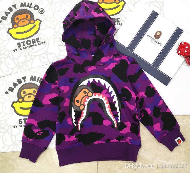 2019 A Bathing Bape Black Shark Kids Boy Long Sleeve Sweatershirt Hoodie 3 Color
