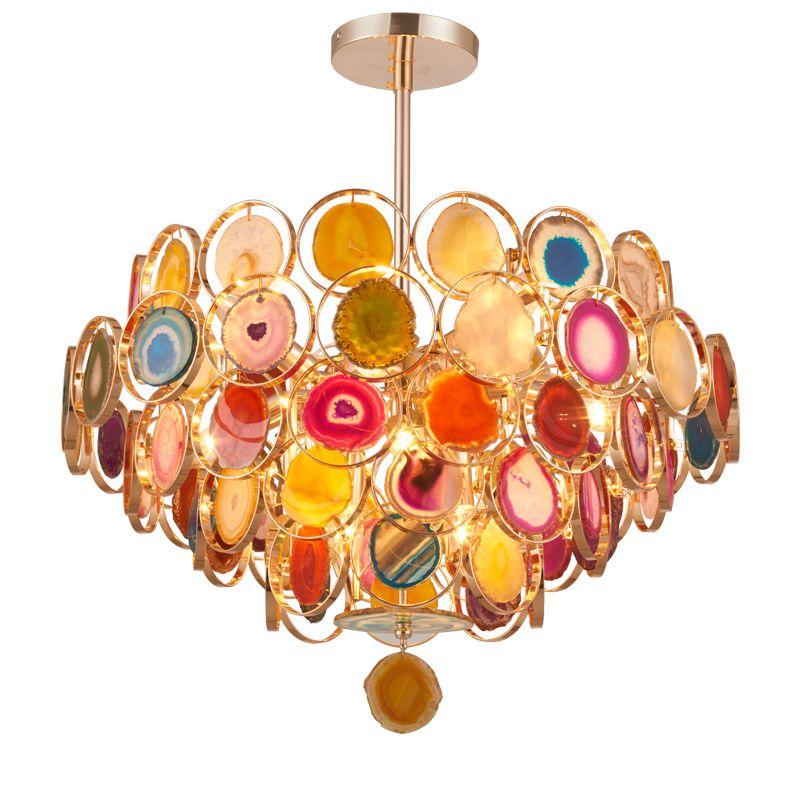 Postmodern light luxury living room lamp restaurant room lamp fashion romantic bedroom lamp color agate colorful Pendant Light