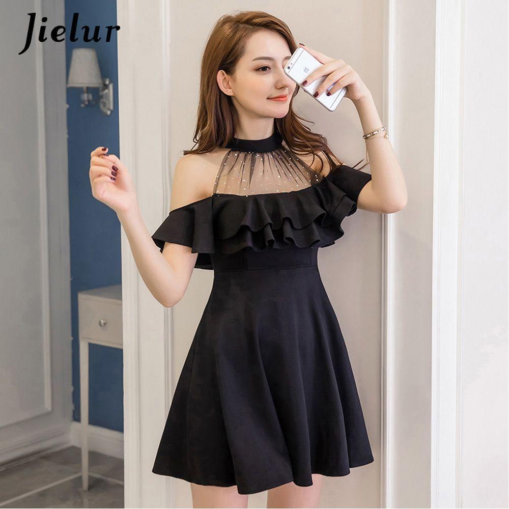 Jielur Elegant Lace Off Shoulder Dress Summer Korean Hipster Black White Sexy Party Slim Ruffles A Line Dress Vestido Dropship