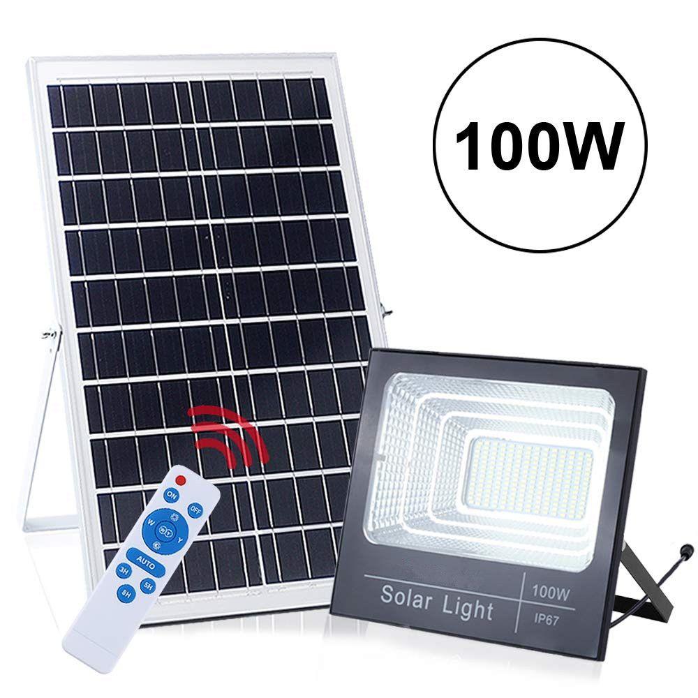 Luces de calle de luz de inundación solar de 100W 196 LED exterior IP67 a prueba de agua con detección de control remoto Encendido / apagado automático para patio Jardín Piscina
