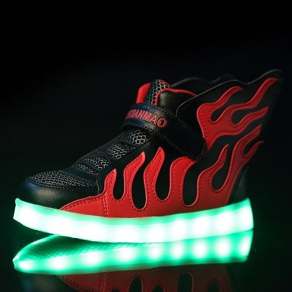 2018 Kids Shoes With Led Lights Children Kids Sneakers With Wing Boys Girls Led Light Up Shoes Usb Charging Tx0272 Y190525
