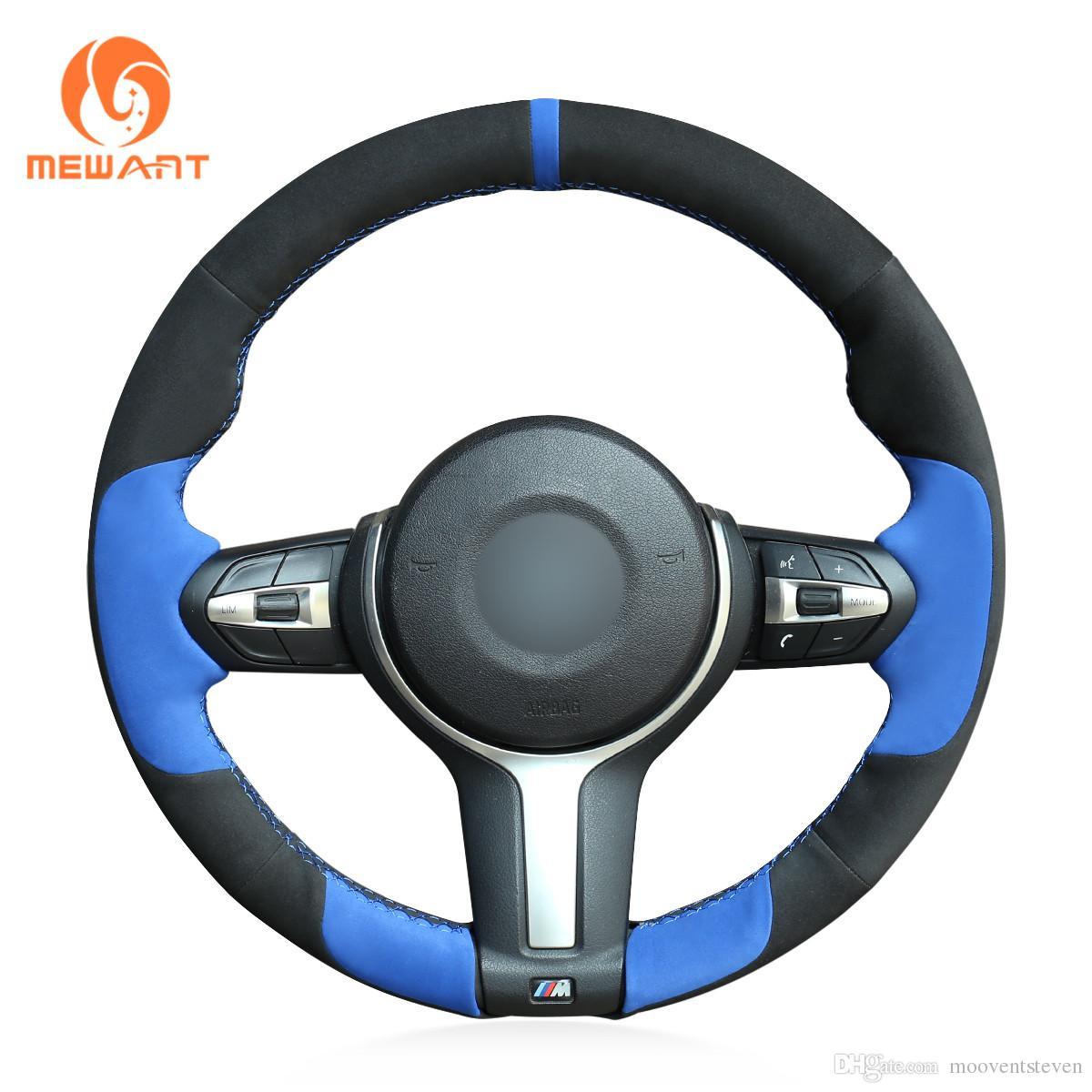 MEWANT Black Blue Suede Hand Sewn Car Steering Wheel Cover for BMW F87 M2 F80 M3 F82 M4 M5 F12 F13 M6 F85 X5 M F86 X6 M F33 F30 M