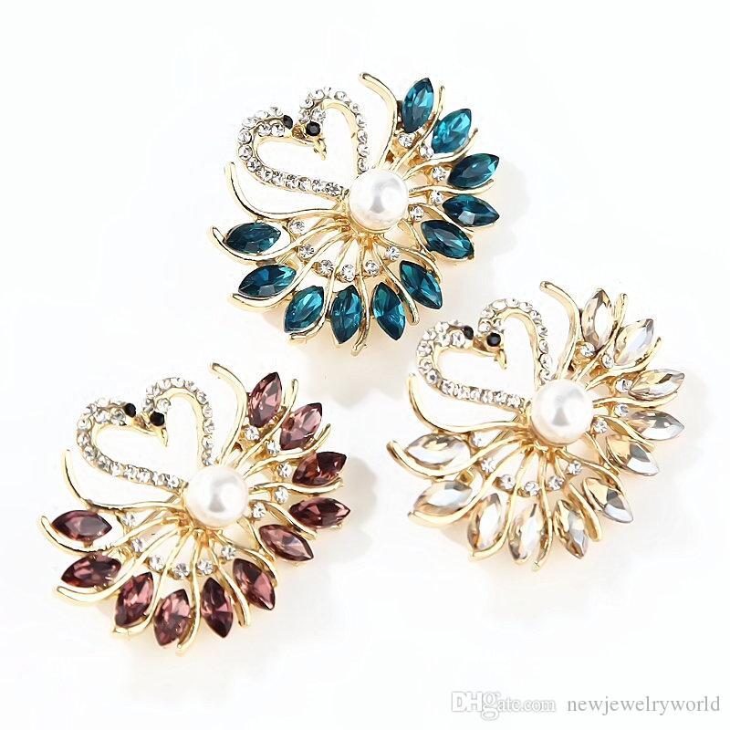 3 Row Clear Brooch Broach Pin Badge Crystal Diamante Wedding Bridal Bouquet