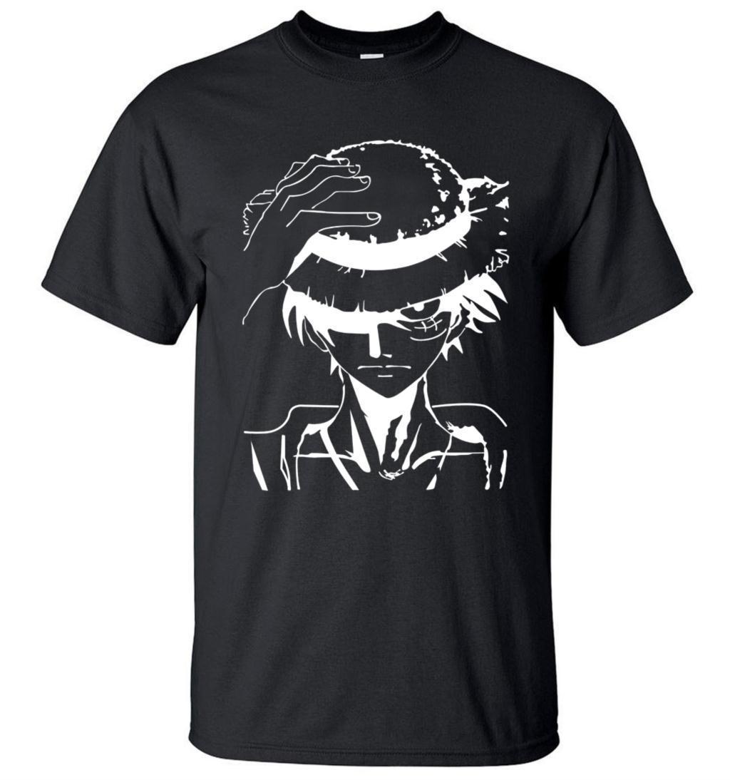 Hot Anime One Piece Monkey.D.Luffy desenhos animados da camisa de t roupas 2019 novo verão 100% algodão de alta qualidade camisa de manga curta marca T200111
