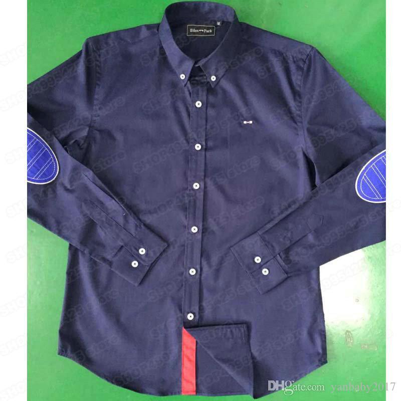 Camicie classiche patchwork Camicie da uomo casual a manica lunga singola Taglie forti Camicia da parco Eden Camicie da uomo slim fashion business M-XXL