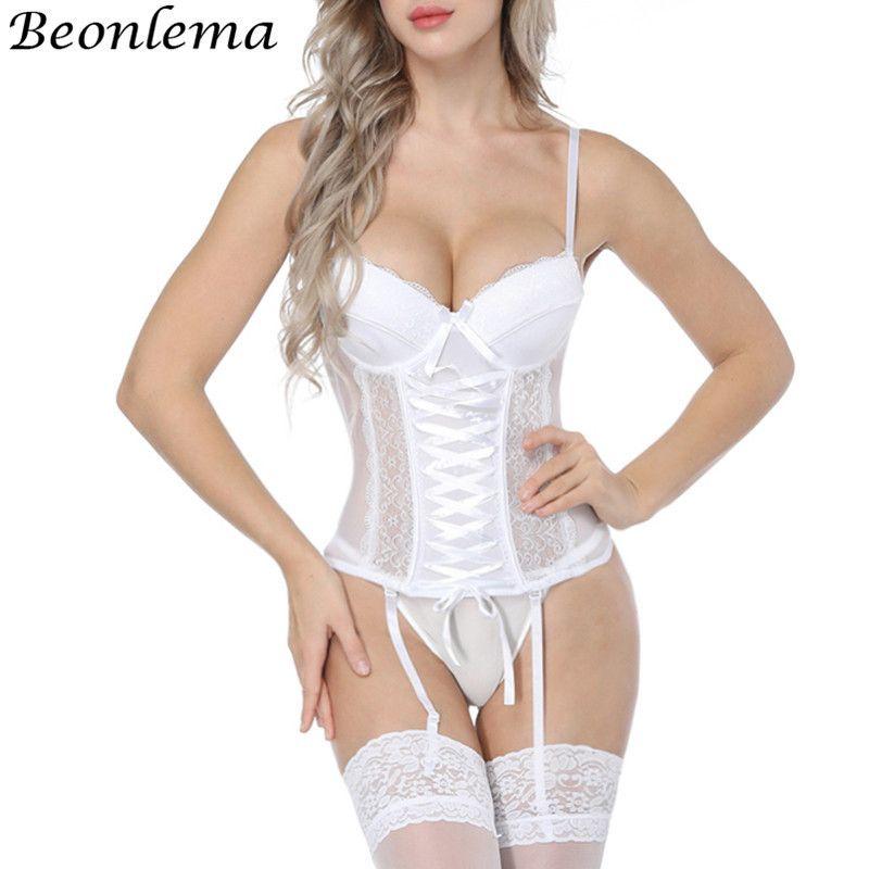 Beonlema 여성 섹시한 속옷 코르셋 에로 Korse 투명한 레이스 메쉬 코르셋 탑 란제리 슬림 허리 Bustier Corselet을 올려 Y19070201