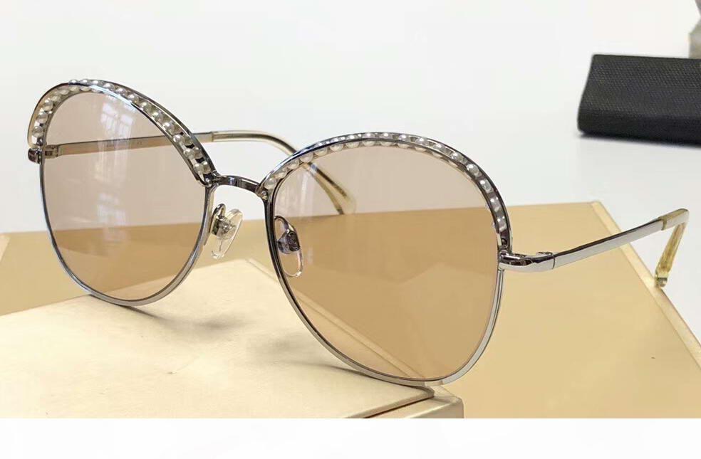 Bege de prata Pérolas Sunglasses 4246 Mulheres Moda Sun óculos designer Sunglasses Shades Eyewear novo com caixa