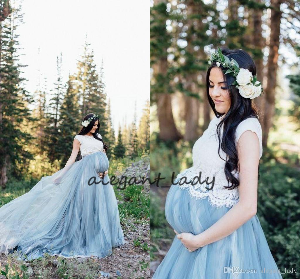 Azul blanco barato de la boda del país de la vendimia Vestidos de boda de maternidad vestidos de tul de longitud de encaje de Bohemia vestido de novia Berta Brida personalizada