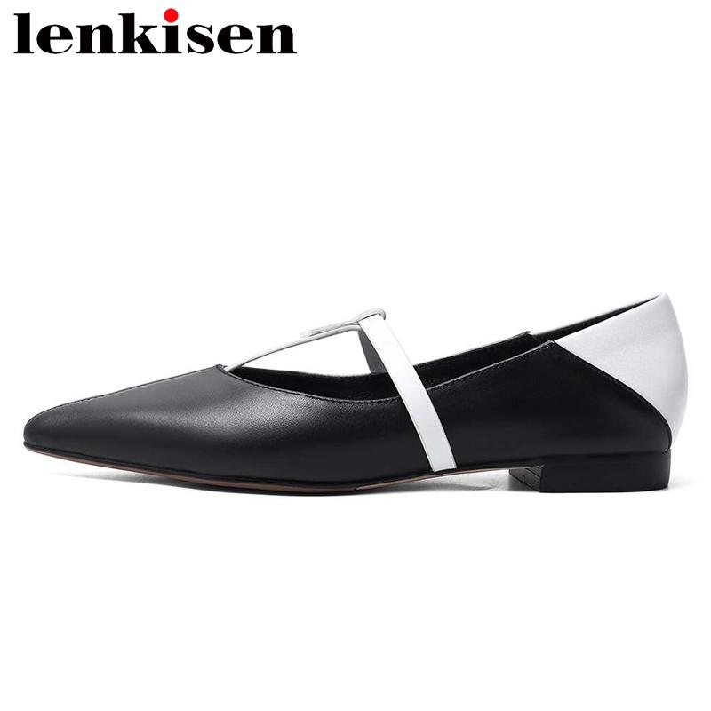 Lenkisen handmade full grain leather high quality pointed toe low hee mixed color slip on office lady daily women pumps L86