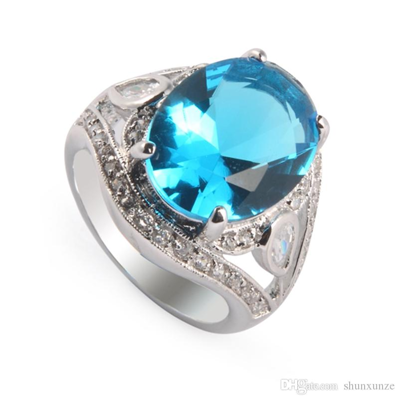 SHUNXUNZE christmas gifts fashion charms Engagement wedding rings for men and Noble Generous women Blue Cubic Zirconia Rhodium Plated R382