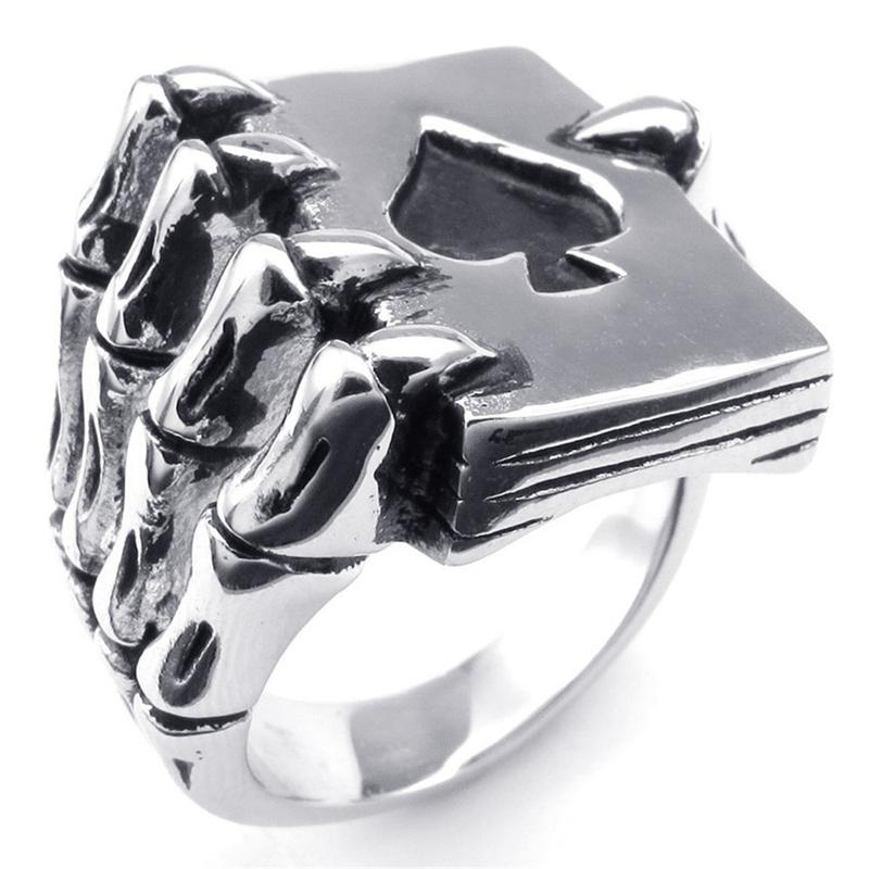 Fashion jewelry Men Ring Vintage poker Claw Punk Antique Silver desinger Rings Rock Luxury Rings Retro Trendy hip hop male ring
