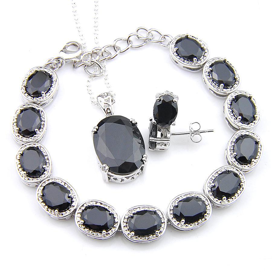 Halloween Stud regalo Orecchini Pendenti Bracciale 3Pcs Insiemi dei monili Oval Black Onyx 925 insiemi delle collane di moda per le donne Monili