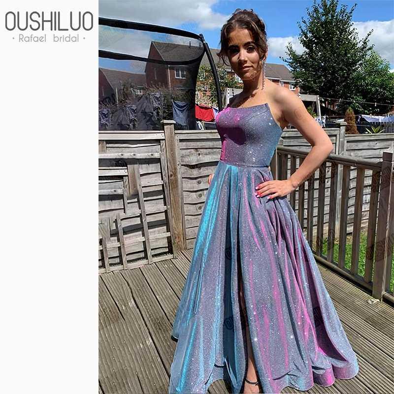 Sem mangas vestidos de baile brilhante elegante vestido roxo de lantejoulas prom longo inchado uma linha strapless vestido de festa para mulheres com divisão lateral