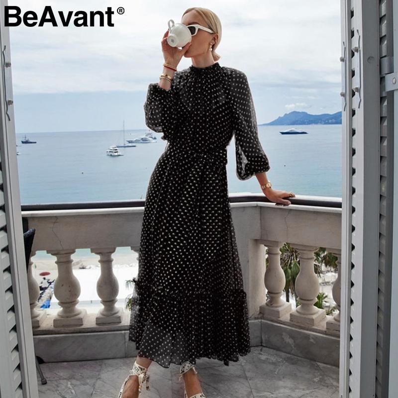 BeAvant Polka kırmızı sonbahar kış elbise kadınlara Zarif fener kollu uzun parti elbiseler dot fırfır o-boyun siyah bayanlar vestidos