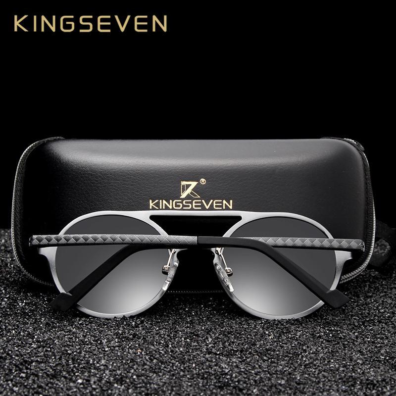 549a3e99ac Compre Kingseven De Aluminio De Los Hombres Gafas De Sol Redondas  Polarizadas Hombres Punk Gafas Vintage Accesorios Gafas De Sol De  Conducción Retro Gafas ...
