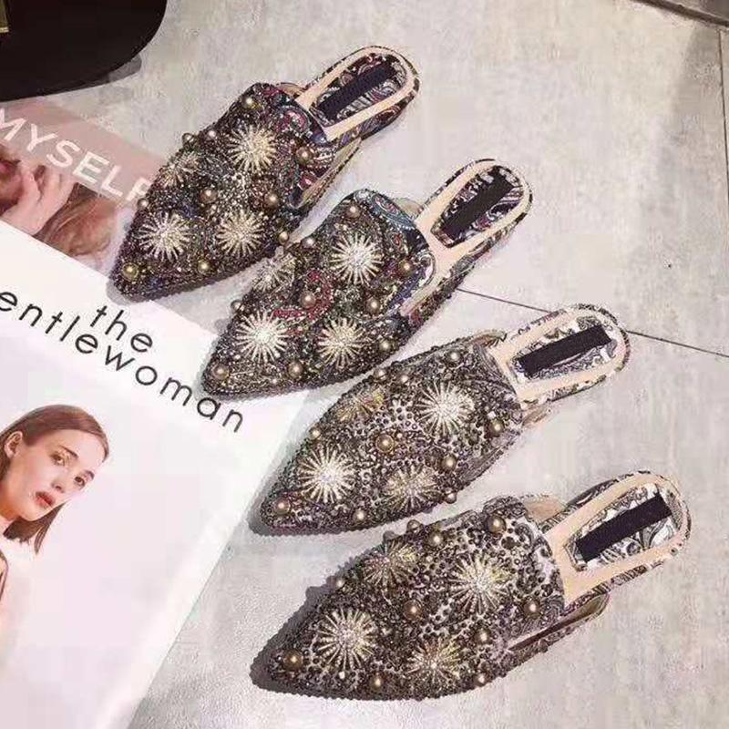 Hot Sale-2019 new brand design retro summer slippers ladies ethnic vintage rivet slides casual women flat summer shoes woman