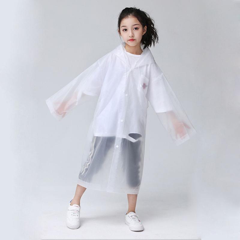 EVA Transparent Fashion Frosted Child Raincoat Girl And Boy Rainwear Outdoor Hiking Travel Rain Gear Coat For Children