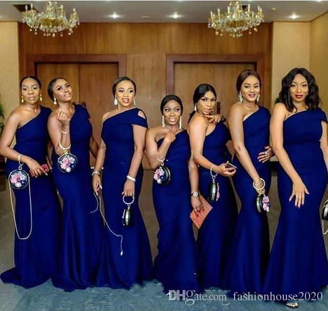 2019 Royal Blue Mermaid Bridesmaid Dresses Sexy One Shoulder Satin Long Maid of honor Gown Cheap Wedding Guest Dress Formal Pageant Gowns