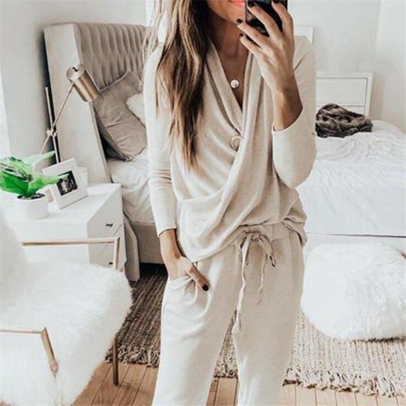 실내 탄성 여성 요가 운동복 간단한 솔리드 패턴 숙녀 잠옷 세트 유행 탄력있는 소프트 터치 여자 홈 의류