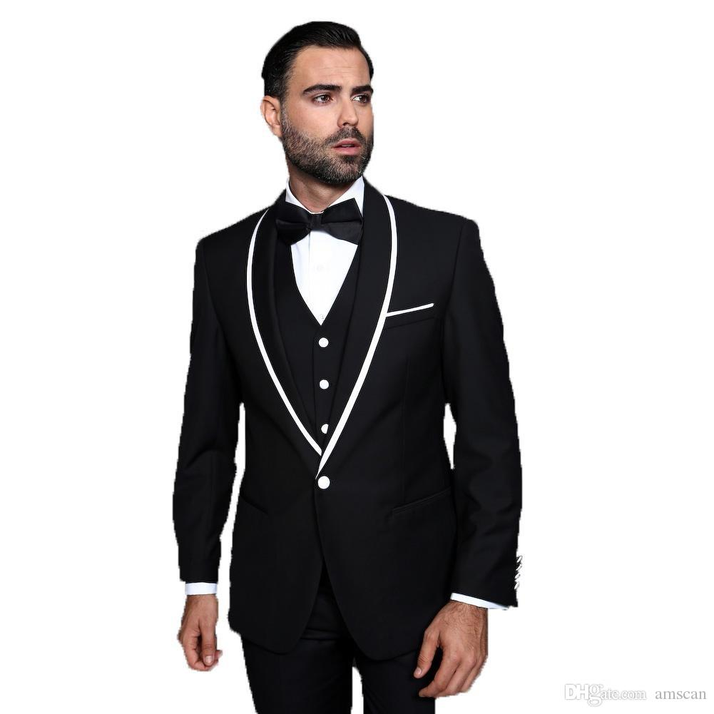 Three Piece Black And White Wedding Tuxedos One Button Groom Tuxedos Groomsmen Best Man Suit Mens Wedding Suits (Jacket+Pants+Vest)