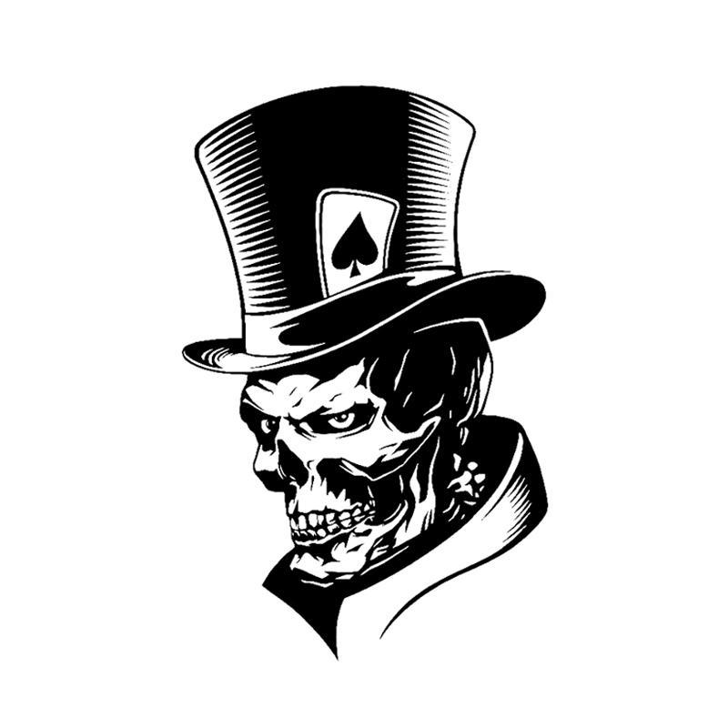 11.3*17.6CM Lovely Joker Skeleton Skull Playing Cards Poker Monster Hat Car Sticker Vinyl