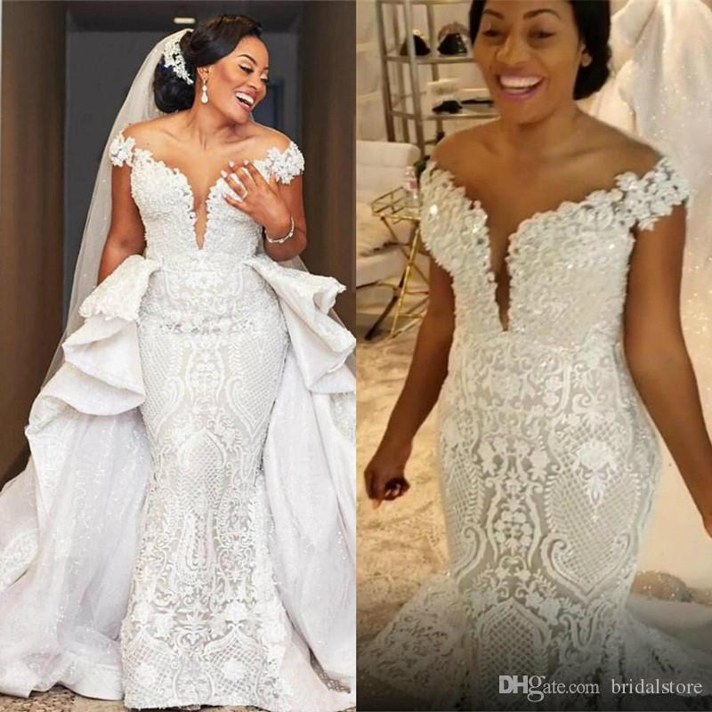 Spark Mermaid Wedding Dresses With Detachable Train African Lace Country Garden Boho Bridal Gowns Off The Shoulder Hochzeitskleider 2020