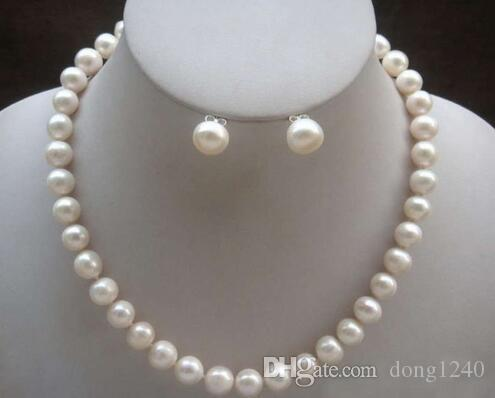 """Envio gratuito Grátis 8-9mm Natural Akoya blanca gola de perlas cultivadas pendiente 18 """""""