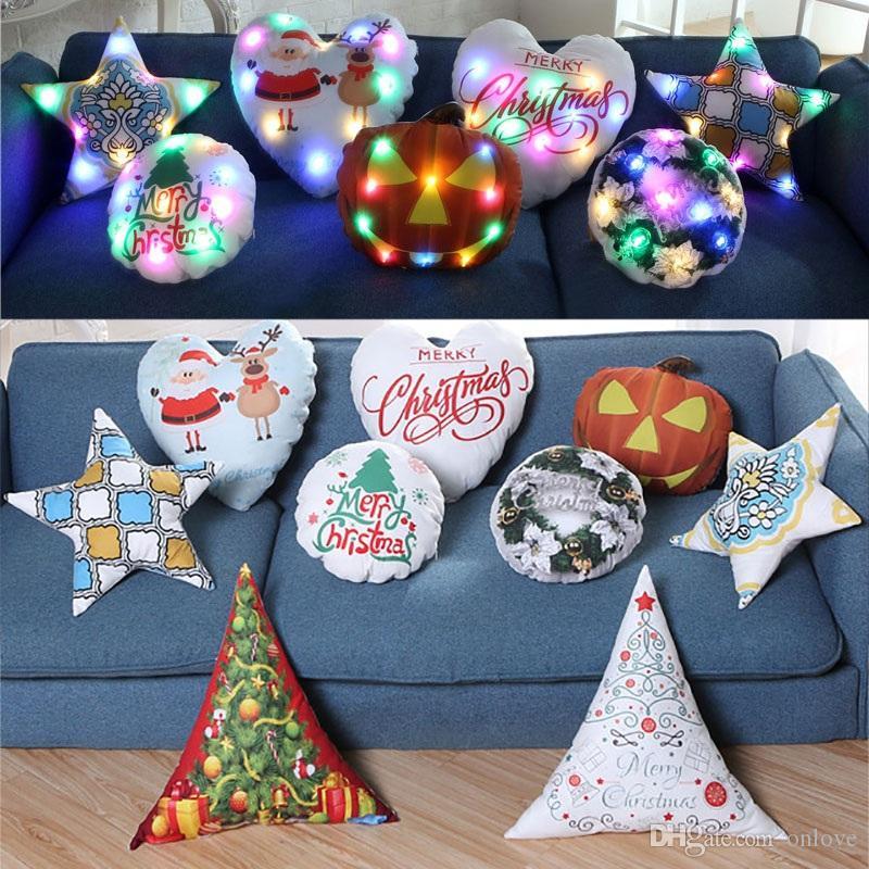أدى ضوء مضيئة وسادة تغطي وسادة غطاء عيد الميلاد سانتا كلوز الرنة وسادة القضية أريكة سيارة الديكور dhl XD20198