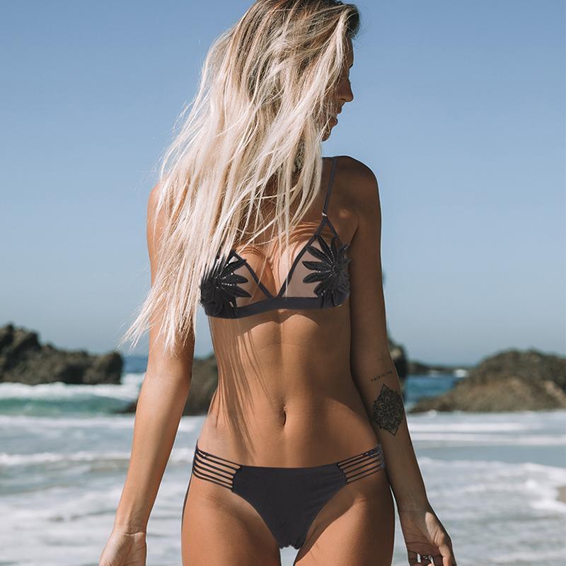 Seksi Çiçek Baskı Bikini Seti Kadınlar Katı Brezilyalı Bikini Mayo Lace Up Mayo Düşük Bel Mayo Beachwear biquini
