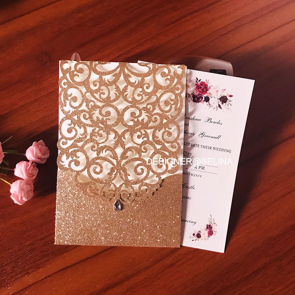 2020 Rose Gold Glitter Laser Cut Pocket Wedding Invitations with Diamond, 30+Color Sprinkle Quinceanera Invitation, Sweet Fifteen Invites