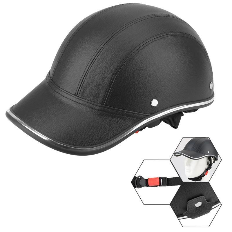 موتوبيكي خوذة قبعة بيسبول السلامة النمط الثابت للدراجات النارية الخوذة القبعة نصف الوجه خمر الصيف كاب للمقهى المتسابق المروحية سكوتر