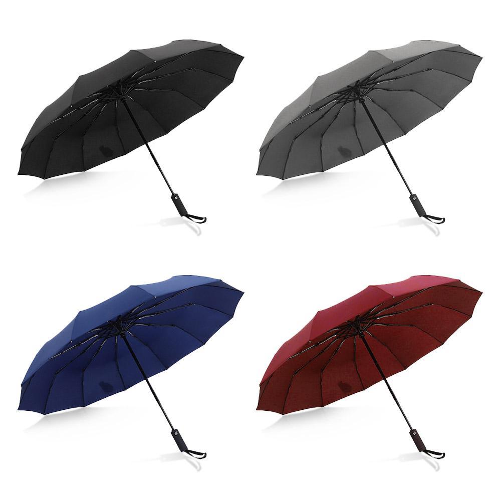 Hot Sale Rain Umbrella Men Quality 12 RIBS Strong Windproof Glassfiber Frame Wooden Long Handle Umbrella Women's Parapluie